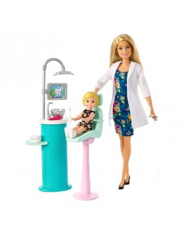 Barbie Lalka Dentystka z pacjentką z Akcesoriami  Blondynka