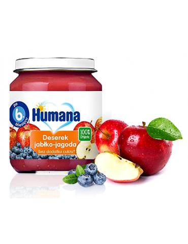 Humana 100% Organic deserek jabłko jagoda125g