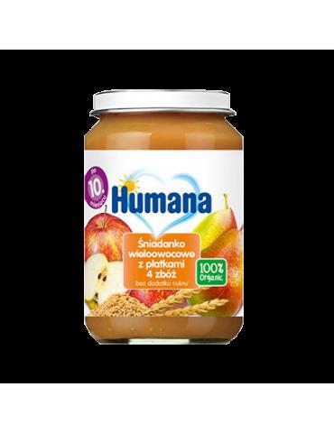 Humana 100% Organic śniadanko wieloowocowe z płatkami 4 zbóż 190g