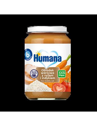Humana 100% Organic obiadek warzywa z ryżem i indykiem