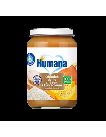 Humana 100% Organic obiadek dynia z ryżem i kurczakiem