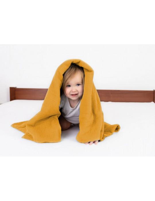 BabyMatex Kocyk dla dziecku Muslin 75/100 musztardowy