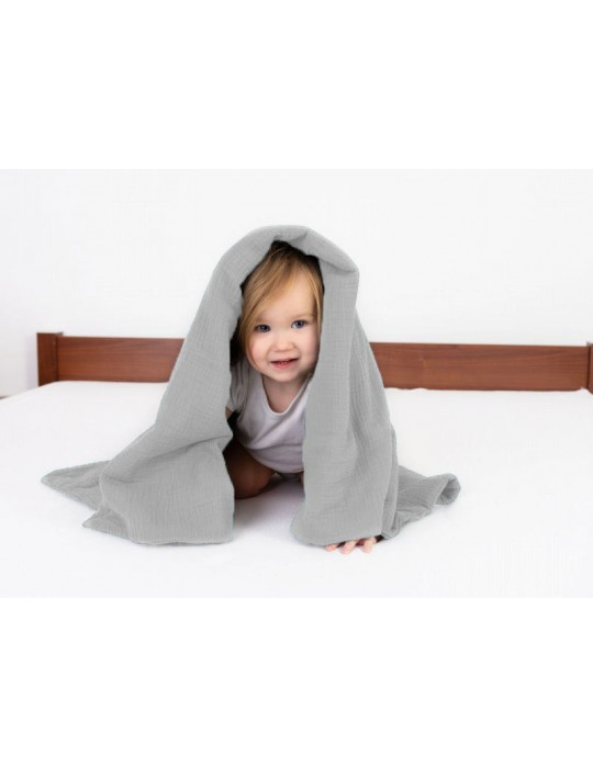BabyMatex Kocyk dla dziecku Muslin 75/100 szaro-różowy