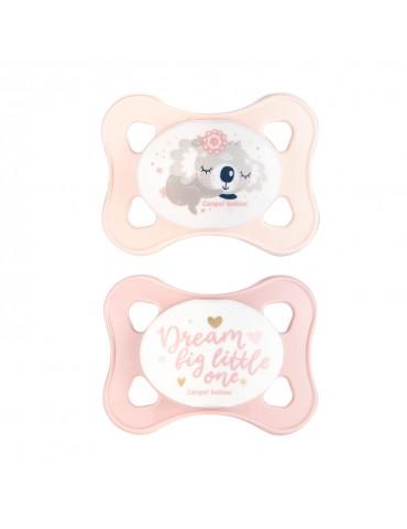 Canpol Babies smoczek silikonowy 0-2 m-cy symetryczny Mini różowy
