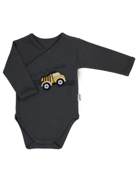 Nicol Body niemowlęce bawełniane rozpinane długi rękaw szare Big trucks 56-62