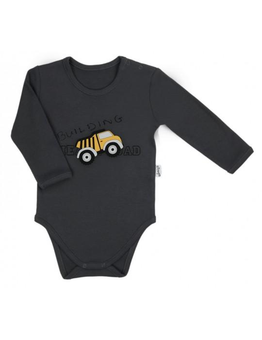 Nicol Body niemowlęce bawełniane długi rękaw szare Big trucks 68-74